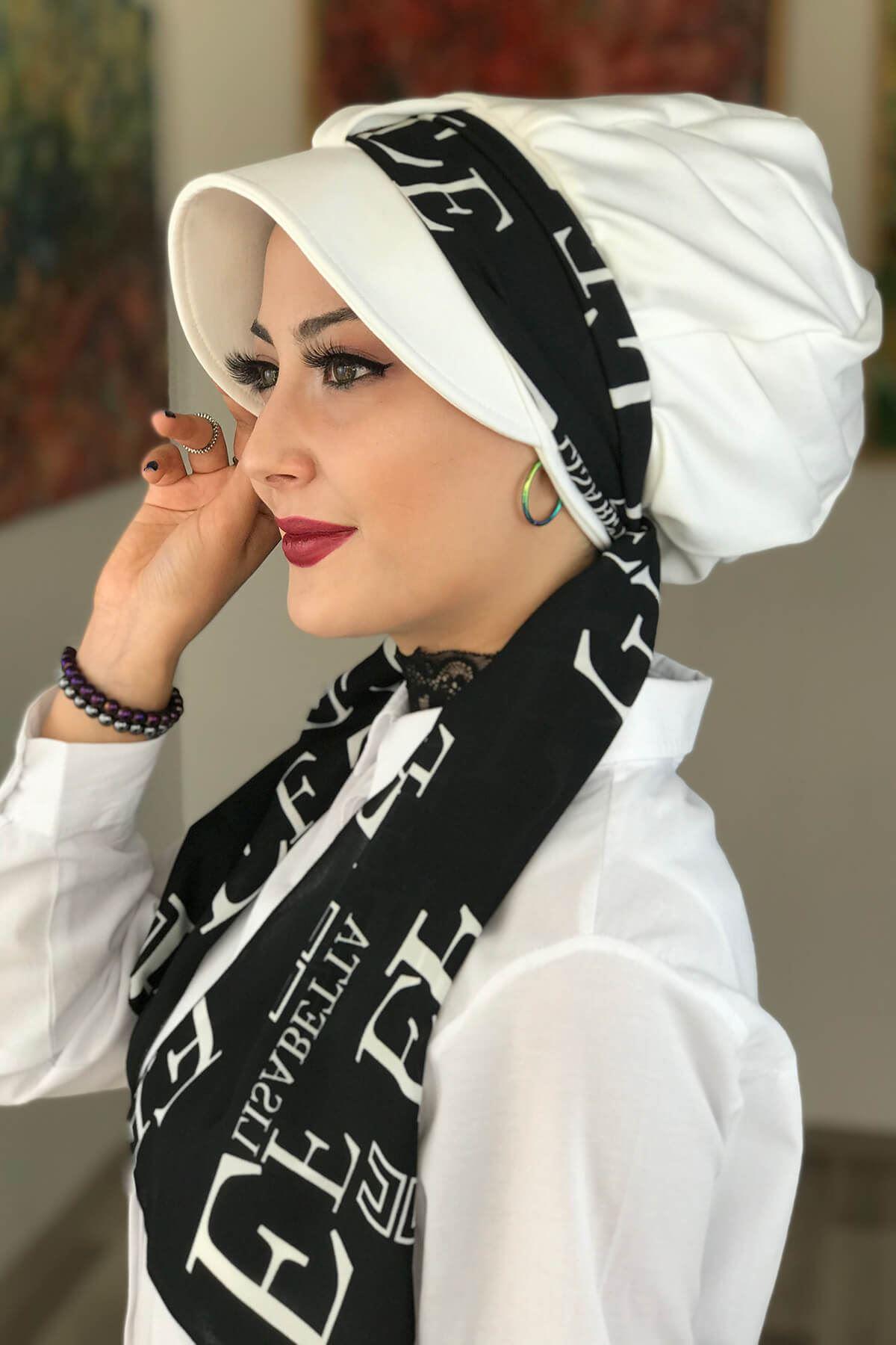 Beyaz Biritli Fularlı Şapka