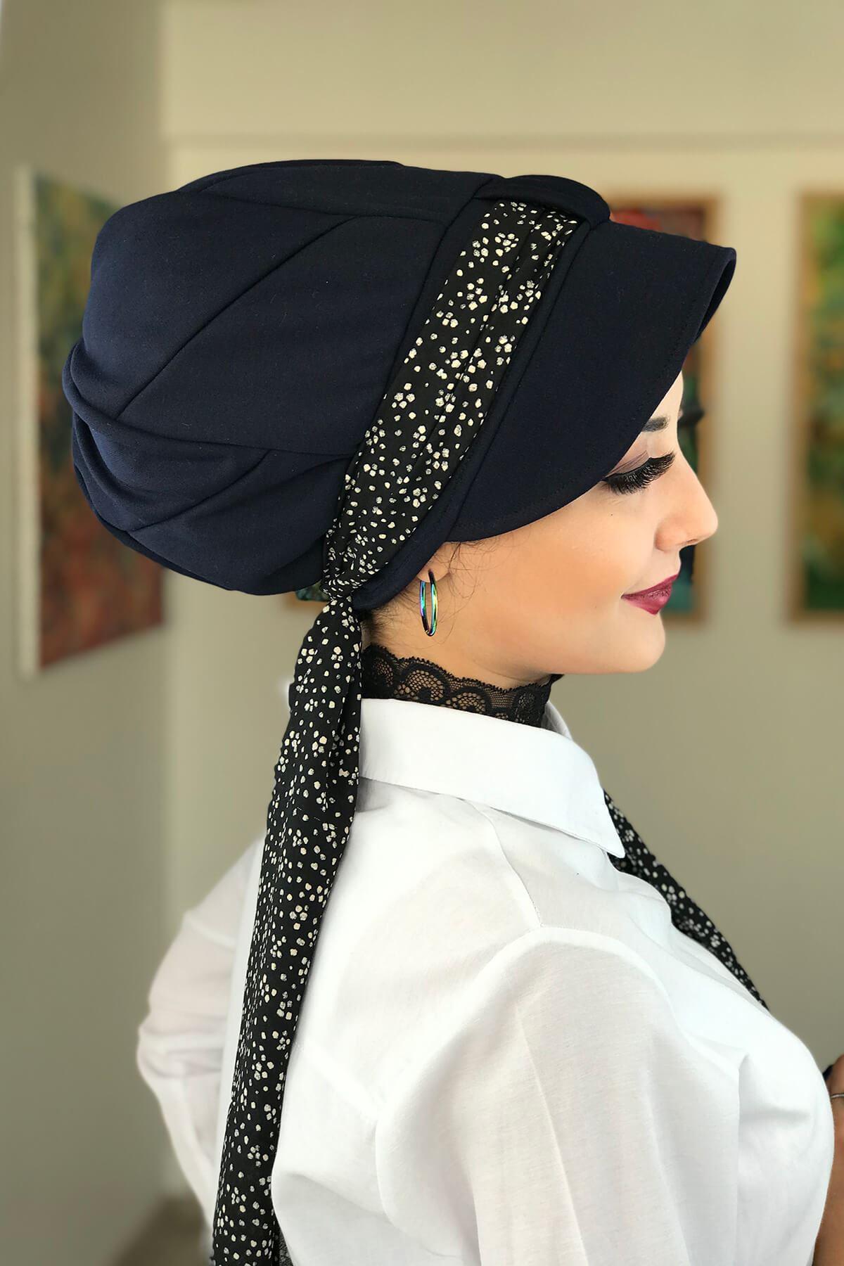 Lacivert Fularlı Şapka Bone